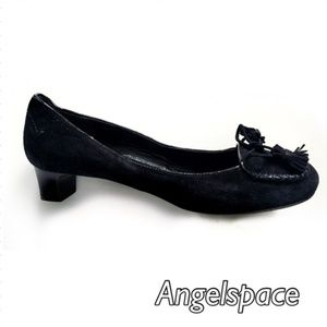 Chloe Black suede pump with bow and tassels 37.5